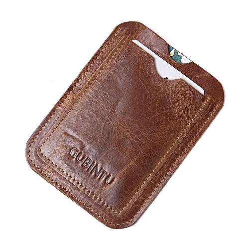 Men Genuine Leather Cards Bag Case Vintage Bank Credit Card Id Holder Coffee