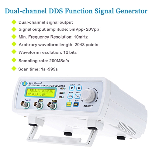 High Precision Digital DDS Dual-channel Signal Source Generator Arbitrary  Waveform Frequency Meter 200MSa/s 6MHz