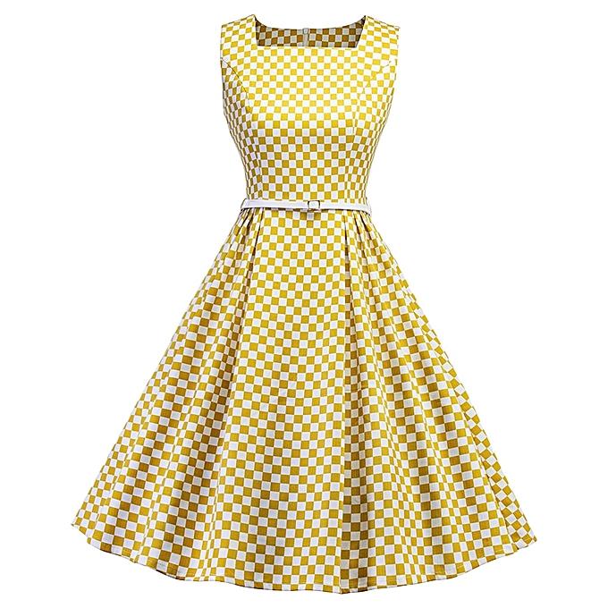 51cbdae8014 Vintage Square Neck Sleeveless Checker Print Belt A-line Women Dress -  YELLOW