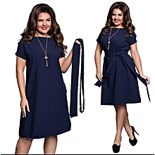 Women Plus Size Dress Short Sleeve Casual O-neck Solid Knee Length-black