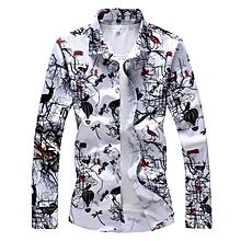 Print Turn-down Long Sleeve Shirts For Men (White)