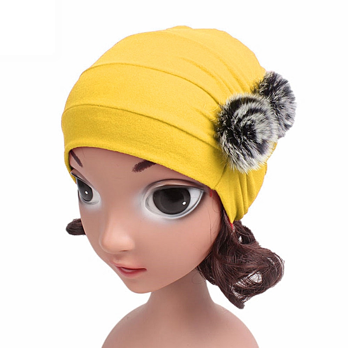 e2f259b7c Children Baby Girls Boho Hat Beanie Scarf Turban Head Wrap Cap YE-Yellow