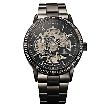 Kobwa Montre Femme Marque De Luxe IK Colouring Men Allochroic Glass Skeleton Auto Mechanical Watch Wristwatches(Black)