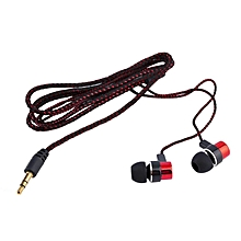Earphone Braided Wiring Super Bass In Ear Stereo Noise Isolating red