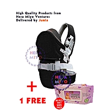 Black Baby Carrier With a Hood + Free Baby Wipes.