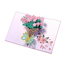 3D Pop Up Narcissus Cards Hollow Carved Birthday Craft Paper pink