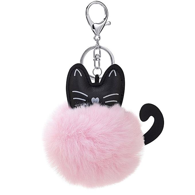 Fluffy Faux Fur Ball Keychain Cartoon Cat Plush Key Chain Bag Charm Pendant  pink e63864a1fe2d