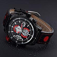 Fohting North Fashion Calendar Men Quartz Wrist Watch Leather Band Watch - Red