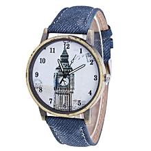 Tectores 2018 Fashion Multifunction Fashion Women's Building Cowboy Band Analog Quartz Wrist Watch Blue
