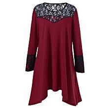 Plus Size Lace Trim Asymmetrical Dress - Red+Black