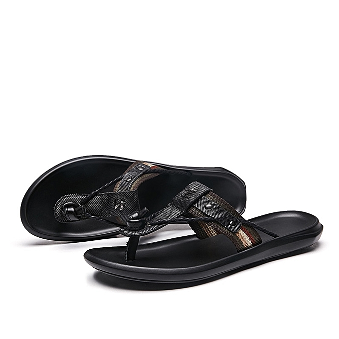 17a7ea328 Generic Men s Outdoor Beach Slippers Comfortable Leather Flip Flops ...