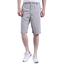 Summer Thin Middle-aged Men's Shorts Elastic Waist Breathable Loose Cotton Linen Shorts