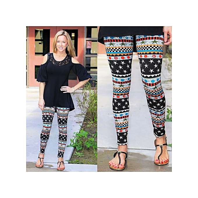 88278d49f14f Wenrenmok Store Christmas Mommy &Me Women Plaid Star Print Pants Family  Leggings Pencil Clothes-Black