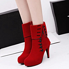 Women Ankle Boots High Heels Fashion Red Shoes  Platform Buckle Winter Boots 35-Red 35