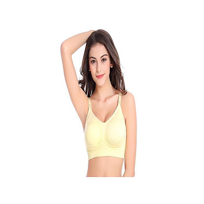 1e595cce0a7c4 Generic Fashion Seamless Maternity Nursing Sleep Bra - Yellow   Best ...