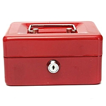 Metal Petty Cash Box Handle Change Desposit Money Holder Home Security (Red)