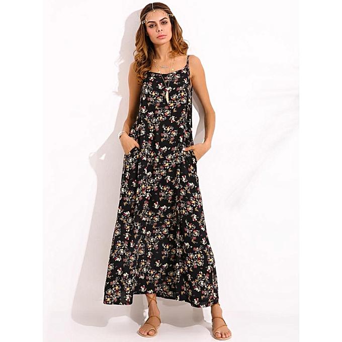 e695fb99ae7 ZANZEA Women Boho Floral Print Sexy Sleeveless Spaghetti Straps Casual  Beach Summer Dress Long Vestido Sundress
