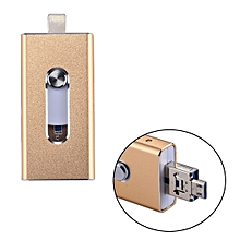 RQW-02 3 in 1 USB 2.0 & 8 Pin & Micro USB 64GB Flash Drive, for iPhone & iPad & iPod & Most Android Smartphones & PC Computer(Gold)