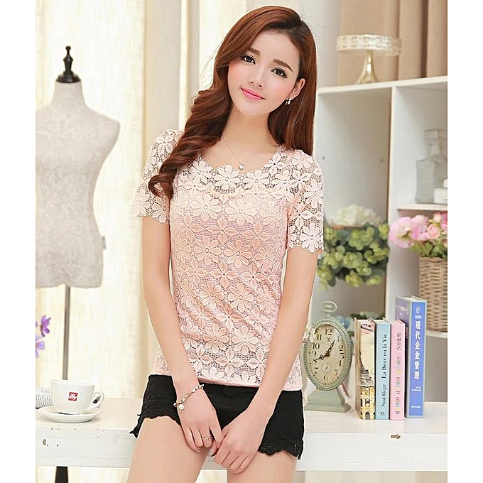 2d8bc7975 New casual ladies fashion lace bottoming shirt women Short sleeve new small  shirt spring and autumn