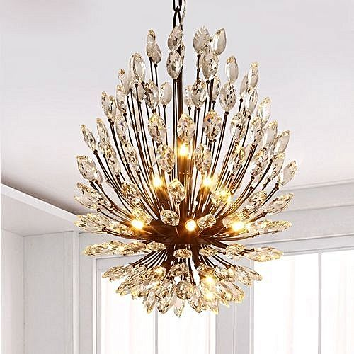 Simple European Style Retro Crystal Chandelier Lamp For Living Room ...