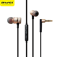 Xiuxingzi_ Awei ES-70TY Super Bass In-ear Headphone Mic Volume Control Earphone GD