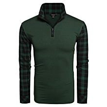 Men Fashion Casual Turn Down Collar Long Sleeve Plaid Patchwork T-Shirt Top-Green