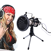 PS-5 Universal Live Broadcast Bracket Tripod Holder with Anti-spray Net & Microphone Clip & Shockproof Clip, For iPhone, Galaxy, Sony, Lenovo, HTC, Huawei, and other Smartphones