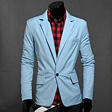 Light Blue Mens Blazer Suit Slim Fit Tuxedo Coat Formal Wedding Meeting Jacket