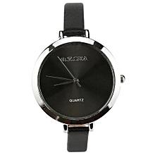 New Lady Watches Dial Leather Strap Quartz Analog Wrist Watch Gift BK-Black