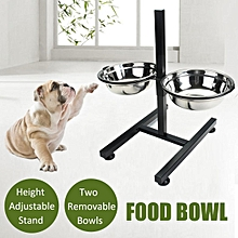 Pet Feeder Cat Dog Food Water Dish Height Adjustable Stand Two Removable Bowls