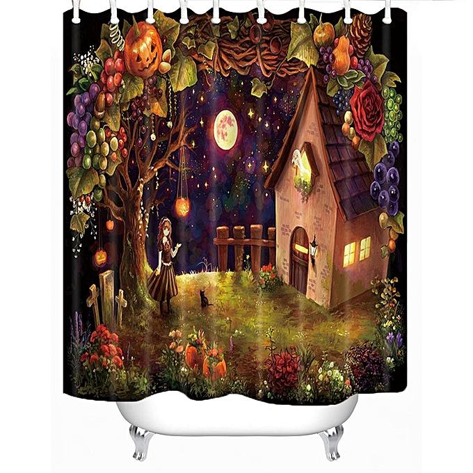 Halloween Theme Bathroom Decor Waterproof Fabric Shower Curtain Liner Doorma