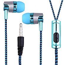 KY-38 Color Cloth Line Heavy Bass Sound In Ear Universal Mobile Phone Headset blue