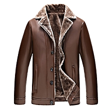 Mens Faux Leather Lapel Collar Jacket Thick Velvet Winter Warm Single-breasted Suit Coat