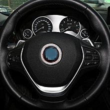 Car Aluminum Steering Wheel Decoration Ring with Diamonds For BMW(Silver)