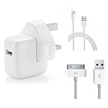 Iphone Travel Charger with USB Cable for Iphone 5/6/6s/plus/7/ 7 Plus - White