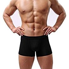 Men's Sexy Solid Color Modal Elastic Boxers Shorts Underwear Briefs Underpants-Black