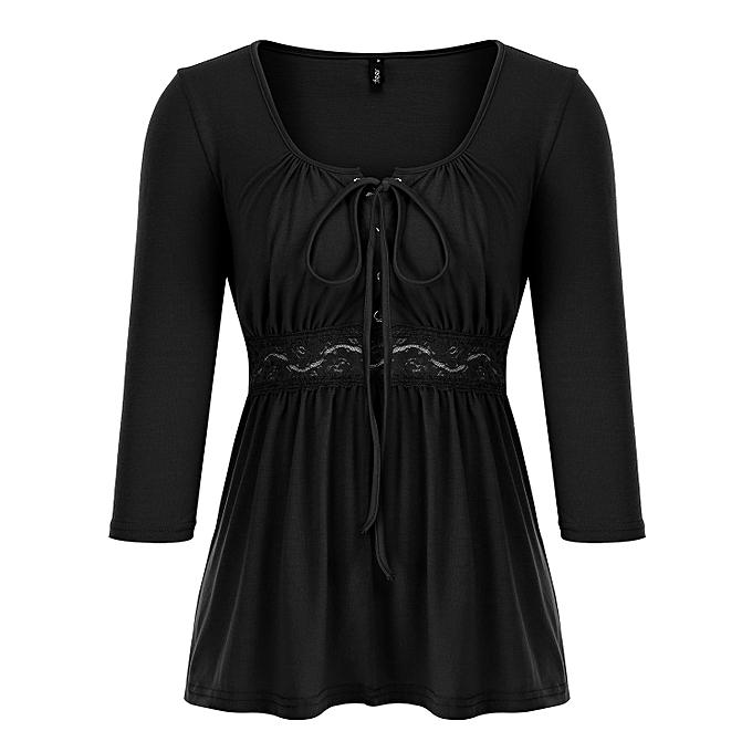e6b8332959 Fashion Women 3/4 Sleeve V Neck Cross Lace Up Basic Casual Tops Blouse  T-shirt Black L