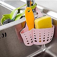 Portable Hanging Silicone Kitchen Gadget Storage Organizer, Sponge Sink Holder Bathroom-Pink