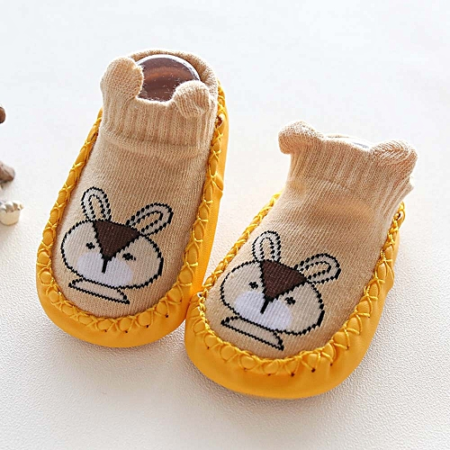 db965d04adf588 Fashion Newborn Baby Cartoon Animal Baby Girls Boys Anti-Slip Socks Slipper Shoes  Boots-Yellow