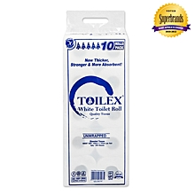 2 Ply Unwrapped White Toilet Tissue - 10 Pack