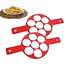 Silicone Nonstick Pancake Maker Egg Ring Maker Pancake Mold Cook Cake Omelette Red