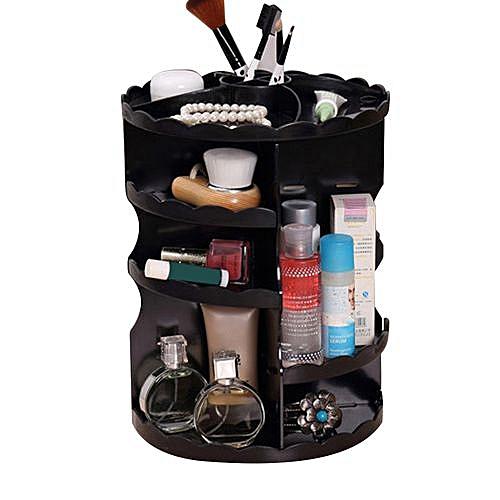 2019 360 Degree Rotating Cosmetic Display Spinning Rack Storage Box Makeup  Black