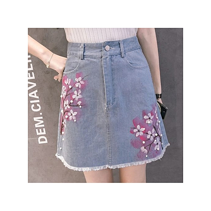 aa30cb7b8 Spring Summer Women's Peach Pattern Printing Denim Skirt A-shaped  Hand-painted Beaded Denim