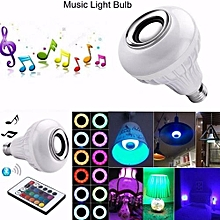 Light Bulbs-LED RGB White Color Music Light Bulb-E27 Wireless Smart Dimmable Bluetooth Control Built-in Audio Speaker With Remote Control For Home, Stage, Party Decoration LBQ-White