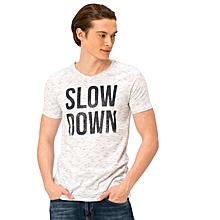 White Fashionable Regular V neck T-Shirt