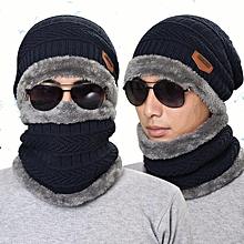 Knitted Hat Scarf Cap Neck Warmer Winter Hats For Men Women Skullies Beanies Fleece