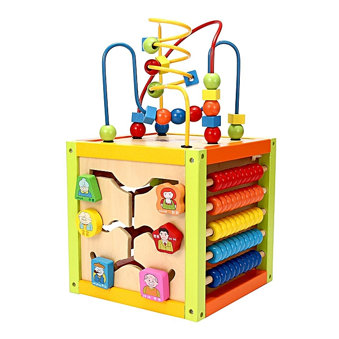 Baby Wooden Activity Cube Toy Small Play Centre Children Learning Bead Maze 18m