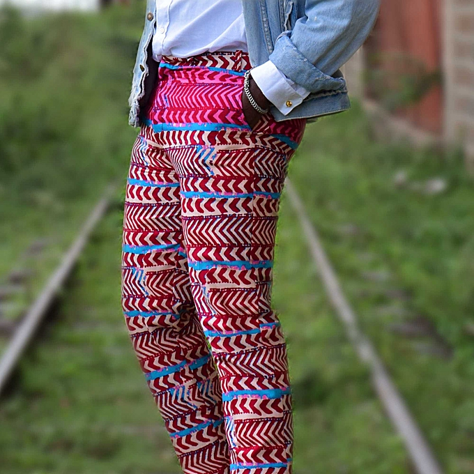 Generic African Mens Pants Kitenge Woodin Print Trousers Slim Fit