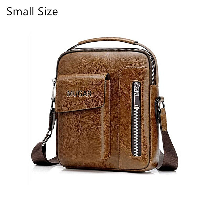 bee9e82d9c97 Casual Vintage Messenger Bag Men Shoulder bags Pu Leather Crossbody Bags  For Men Bags Retro Zipper Man Business Handbags(BROWN SMALL)