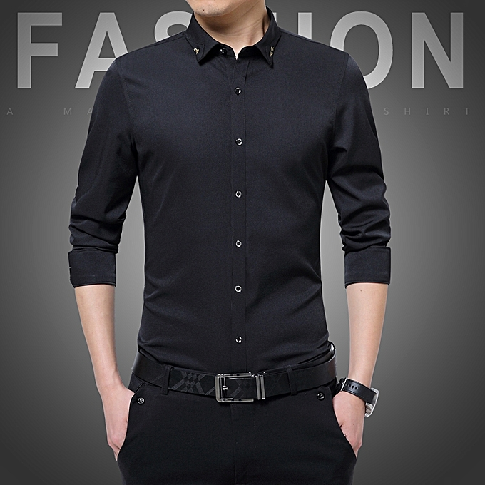 Tauntte Long Sleeve Formal Shirts For Men (Black)   Best Price ... dd64b0cd868